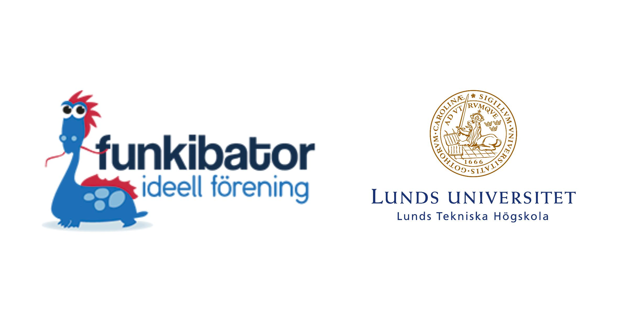 Logotyper Funkibator och Lunds Universitet
